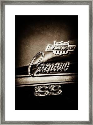 1968 Chevrolet Yenko Super Camaro Ss Side Emblem -1762s Framed Print by Jill Reger