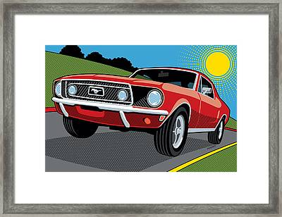 Framed Print featuring the digital art 1968 Ford Mustang Sunday Cruise by Ron Magnes