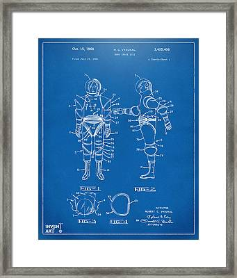 1968 Hard Space Suit Patent Artwork - Blueprint Framed Print by Nikki Marie Smith