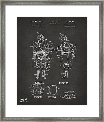 1968 Hard Space Suit Patent Artwork - Gray Framed Print by Nikki Marie Smith