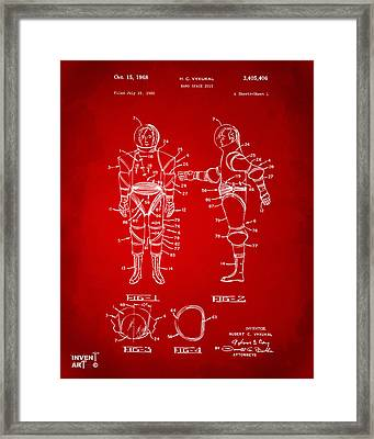 1968 Hard Space Suit Patent Artwork - Red Framed Print by Nikki Marie Smith