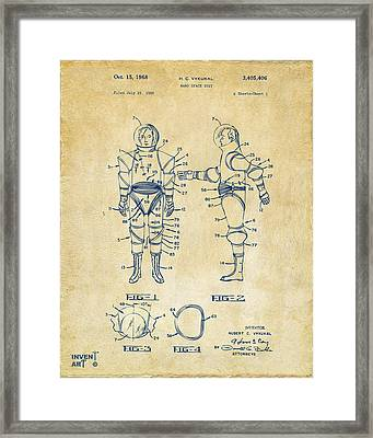 1968 Hard Space Suit Patent Artwork - Vintage Framed Print by Nikki Marie Smith