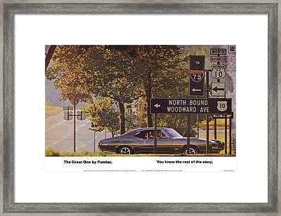 1968 Pontiac Gto - Woodward - The Great One By Pontiac Framed Print
