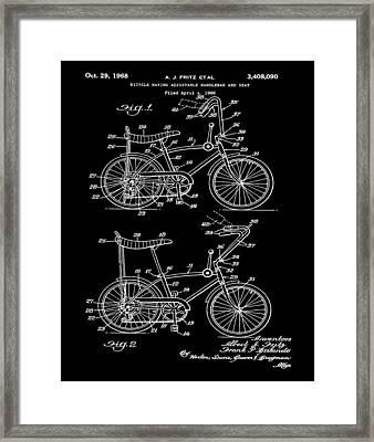 1968 Schwinn Stingray Patent In Black Framed Print by Bill Cannon