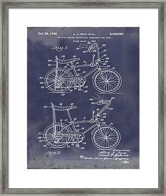 1968 Schwinn Stingray Patent In Blueprint Framed Print by Bill Cannon
