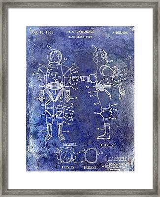 1968 Space Suit Patent Blue Framed Print by Jon Neidert