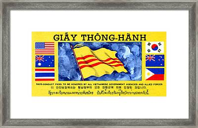 Framed Print featuring the painting 1968 Vietnam War Safe Conduct Pass by Historic Image