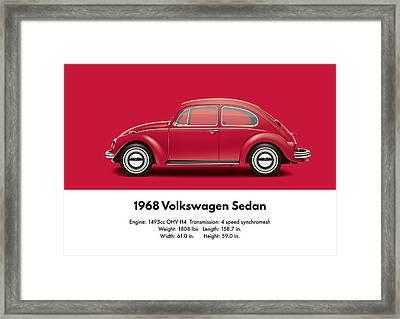 1968 Volkswagen Sedan - Royal Red Framed Print