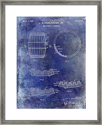 1968 Whiskey Barrel Patent Blue Framed Print by Jon Neidert