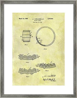 1968 Whiskey Barrel Patent Framed Print by Dan Sproul