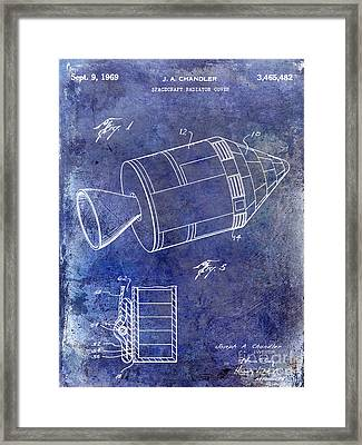 1969 Apollo Spacecraft Patent Blue Framed Print by Jon Neidert