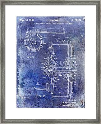 1969 Fly Reel Patent Blue Framed Print