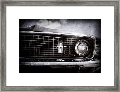 1969 Ford Mustang Grille Emblem -0129ac Framed Print by Jill Reger