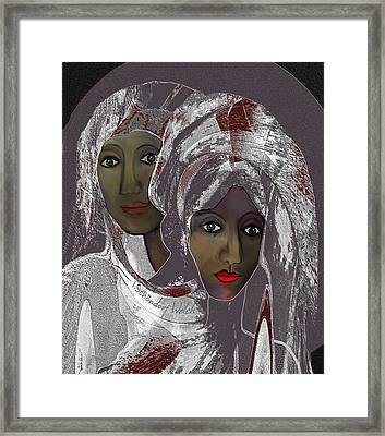 Framed Print featuring the digital art 1969 -  White Veils by Irmgard Schoendorf Welch