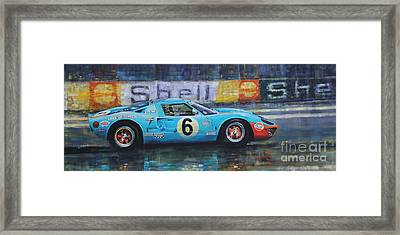 1969 Le Mans 24 Ford Gt40 Jacky Ickx Jackie Oliver Winner Framed Print by Yuriy Shevchuk