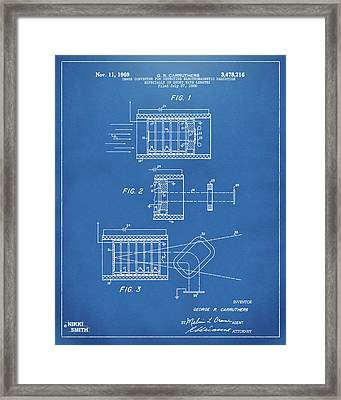 Framed Print featuring the digital art 1969 Short Wave Electromagnetic Radiation Patent Blueprint by Nikki Marie Smith