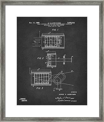 Framed Print featuring the digital art 1969 Short Wave Electromagnetic Radiation Patent Gray by Nikki Marie Smith