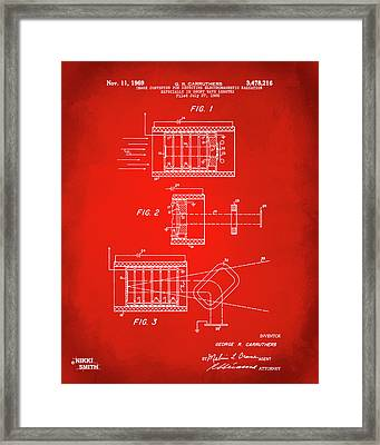 Framed Print featuring the digital art 1969 Short Wave Electromagnetic Radiation Patent Red by Nikki Marie Smith