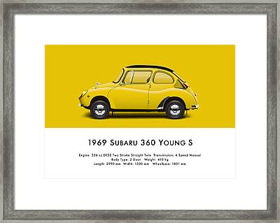 1969 Subaru 360 Young S - Yellow Framed Print by Ed Jackson