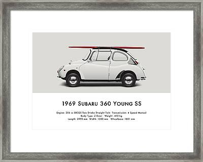 1969 Subaru 360 Young Ss - Creme Framed Print