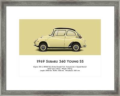 1969 Subaru 360 Young Ss - Light Yellow Framed Print by Ed Jackson