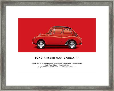 1969 Subaru 360 Young Ss - Red Framed Print by Ed Jackson
