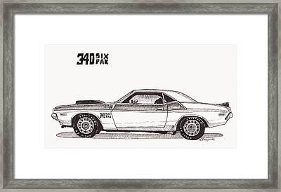 1970 Dodge Challenger 340 Six Pak Framed Print by Jeff Blazejovsky