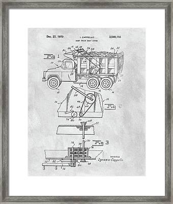 1970 Dump Truck Cover Patent Framed Print