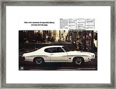 1970 Pontiac Gto The Judge  Framed Print by Digital Repro Depot
