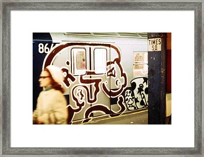1970s America. Graffiti On A Subway Car Framed Print