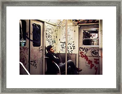1970s America. Graffiti On A Subway Framed Print by Everett