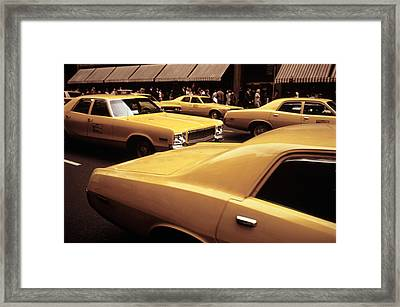 1970s America. Yellow Taxi Cabs On 5th Framed Print by Everett
