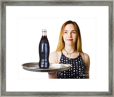 1970s Soda Pin Up With Diner Drinks Framed Print