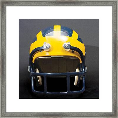 Framed Print featuring the photograph 1970s Wolverine Helmet by Michigan Helmet
