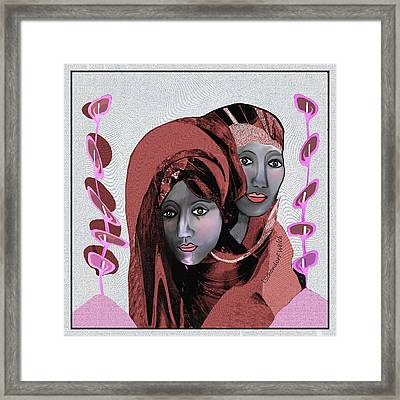 Framed Print featuring the digital art 1971- Rosecoloured Portrait 2017 by Irmgard Schoendorf Welch