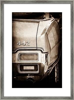 1971 Oldsmobile 442 Convertible Tail Light Emblem -1683s Framed Print