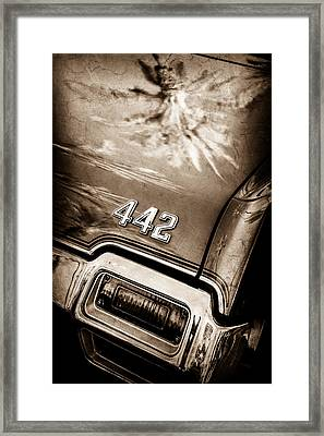 1971 Oldsmobile 442 Convertible Taillight Emblem -0445s Framed Print