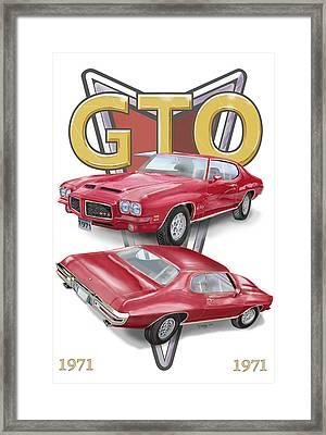 1971 Pontiac Gto Framed Print by Thomas J Herring