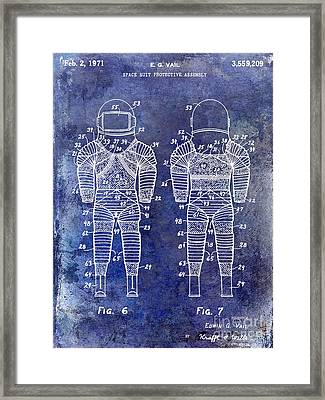 1971 Space Suit Patent Blue Framed Print by Jon Neidert