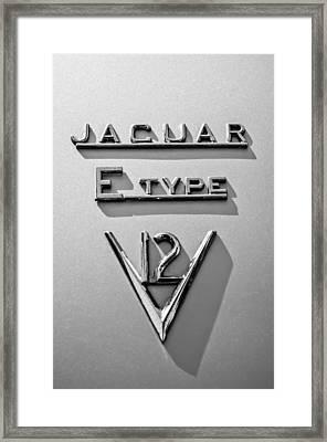 1972 Jaguar E-type V12 Roadster Emblem -0286bw Framed Print by Jill Reger