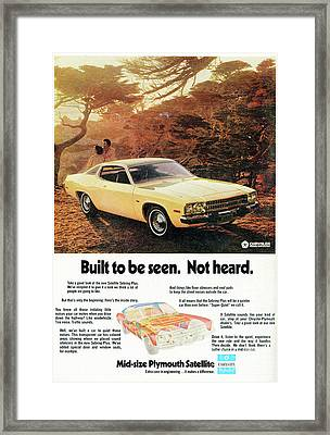 1972 Mid-size Plymouth Satellite Vintage Car Ad Framed Print by Edward Fielding
