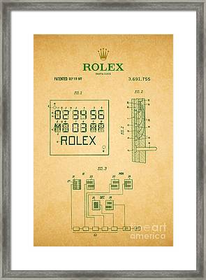 1972 Rolex Digital Clock Patent 2 Framed Print by Nishanth Gopinathan