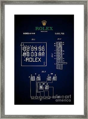 1972 Rolex Digital Clock Patent 5 Framed Print by Nishanth Gopinathan