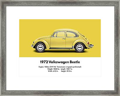 1972 Volkswagen Beetle - Saturn Yellow Framed Print