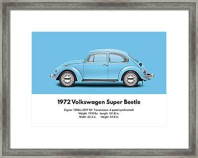 1972 Volkswagen Super Beetle - Marina Blue Framed Print