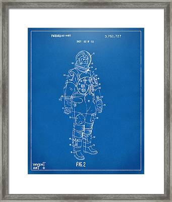 1973 Astronaut Space Suit Patent Artwork - Blueprint Framed Print by Nikki Marie Smith