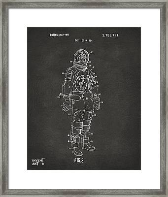 1973 Astronaut Space Suit Patent Artwork - Gray Framed Print by Nikki Marie Smith