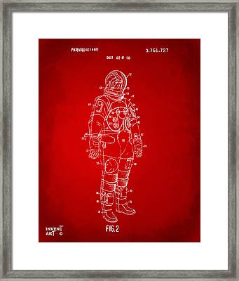 1973 Astronaut Space Suit Patent Artwork - Red Framed Print