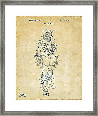 1973 Astronaut Space Suit Patent Artwork - Vintage Framed Print by Nikki Marie Smith
