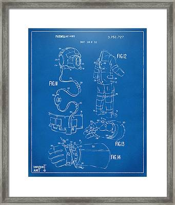1973 Space Suit Elements Patent Artwork - Blueprint Framed Print by Nikki Marie Smith